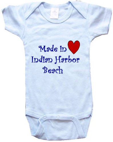 - MADE IN INDIAN HARBOR BEACH - INDIAN HARBOR BEACH BABY - City Series - Blue Baby One Piece Bodysuit - size Medium (12-18M)