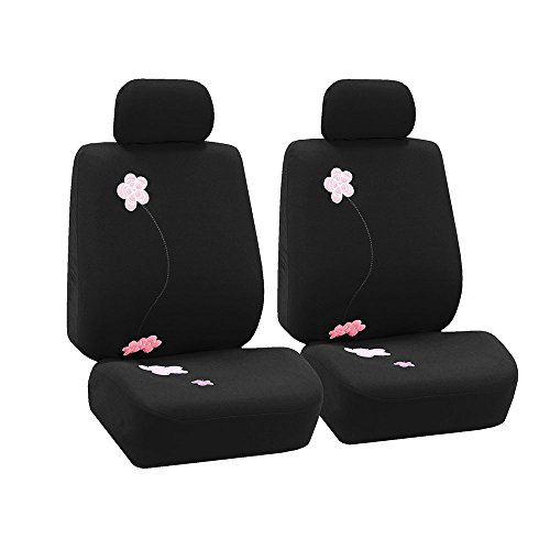 (FH Group FB053BLACK102 Seat Cover (Flower Embroidery Airbag Compatible (Set of 2) Black))
