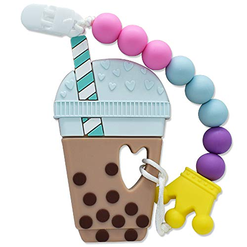 Neutral Coffee Cup Silicone Teether Set Food Grade Silicone Teething Toy for Infant (Brown)