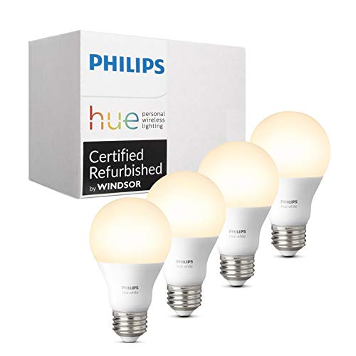 Philips Hue White A19 4-Pack 60W Equivalent Dimmable LED Smart Bulb (Compatible with Amazon Alexa, Apple HomeKit and Google Assistant) (Certified Refurbished)