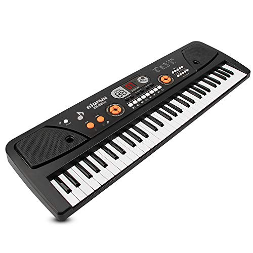 SAOCOOL Music Piano Keyboards, 61 Keys Multifunction Piano Keyboard Electronic Piano Keyboard Music Piano Toys with Microphone (Black)