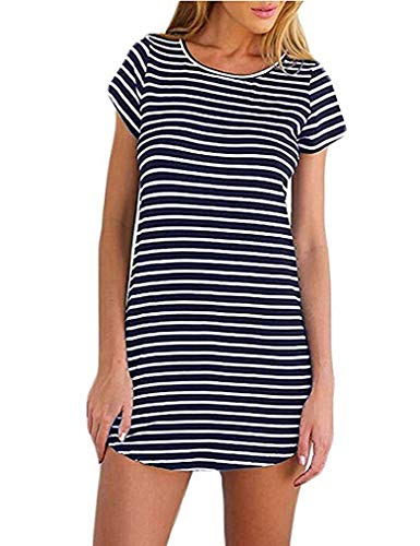 (OURS Women's Striped Curved Hem Round Neck Short Sleeve Above Knee Length T-Shirt Tunic Dress (L, Navy Blue))