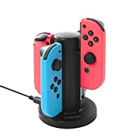 Insten Joy-Con USB Charging Dock for Nintendo Switch, Insten 4 in 1 Joy-Con Charger Dock Station LED Charging Indicators and Micro USB Cable for Nintendo Switch Console
