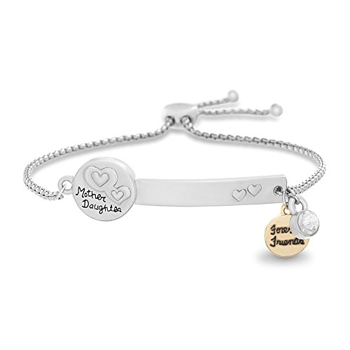 WILLOWBIRD Crystal Mother Daughter Heart Charm Slider Adjustable Bracelet for Women in Two-Tone Plated Brass (Disc)