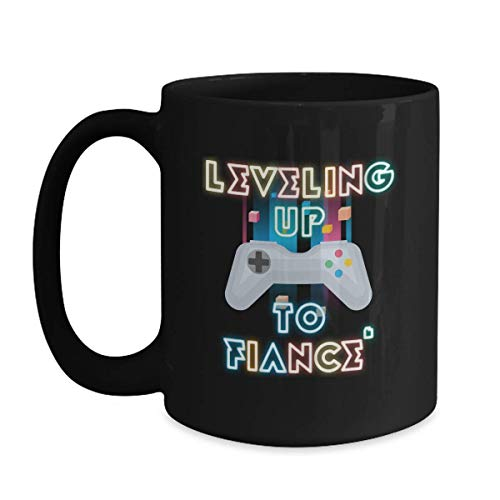 Future Husband Mug Leveling Up To Fiance Cup - 15 oz White Coffee | Tea Mug Gaming Groom To Be Gift -