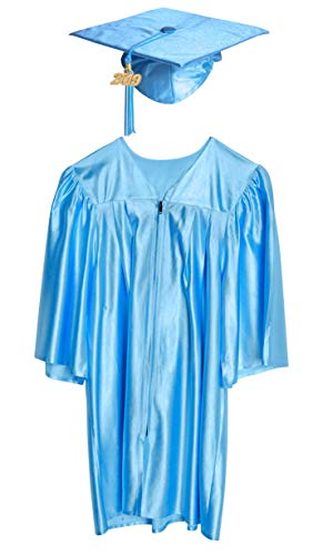 Small Light Blue Shiny Preschool and Kindergarten Graduation Cap and Gown, Tassel and 2019 Charm