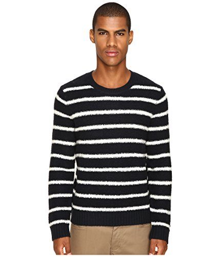 Blend Striped Crewneck Sweater (Vince Men's Textured Striped Merino Blend Long Sleeve Crew Neck Sweater Coastal/Pearl Sweater)
