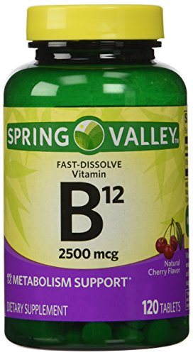 ONLY 1 IN PACK Spring Valley Fast-Dissolve Vitamin B12 2500 Mcg, Metabolism Support, 120 Tablets cherry flavor (Spring Valley B Vitamin)