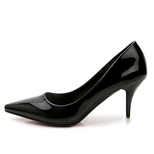 AalarDom Mujer Sin cordones Puntiagudo Tacón Alto Material Suave Sólido De salón Negro-Pulido