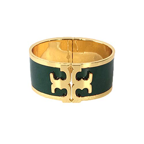 - Tory Burch T Raised Logo Enamel Wide Hinged Cuff Bracelet, Banyan Green