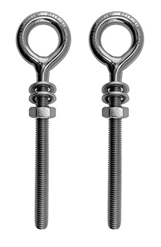 2 Pieces Stainless Steel 316 M8 Eye Bolt 8mm x 60mm Marine ()