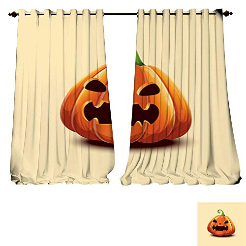 DESPKON-HOME Window Curtain Drape Happy Halloween Realistic Vector Halloween Pumpkin Angry Scaring face Halloween Pumpkin Isolated on Thermal Insulated Blackout Curtains -W96 x L84/Pair]()