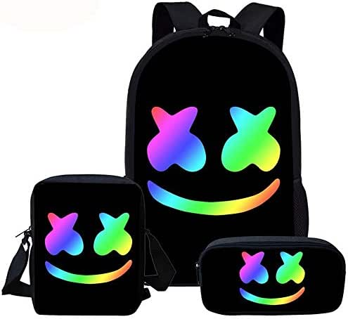 USAMYNA School Backpack 3 Sets For Kids Youth 17-Inch Schoolbag Fashion Practical School Bag Suitable for Teenagers and Students (colour A)