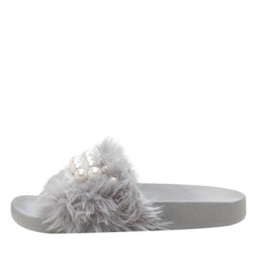 Vild Diva Kvinna Öppen Tå Pärla Förskönat Slide Flat Sandal Flip Flop Tofflor Grå