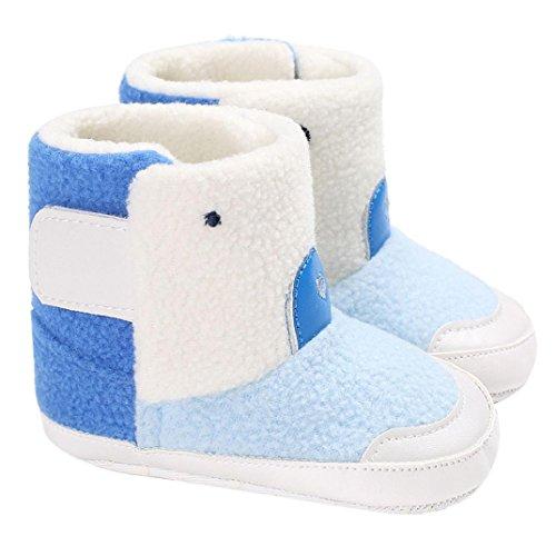Babyschuhe Longra Baby Mädchen Jungen Stiefel Schuhe Kleinkind Baumwolle Weiche Sohlen Krippe Schuhe Baby Unisex Winter Warm Schneestiefel (0-18Monate) Blue