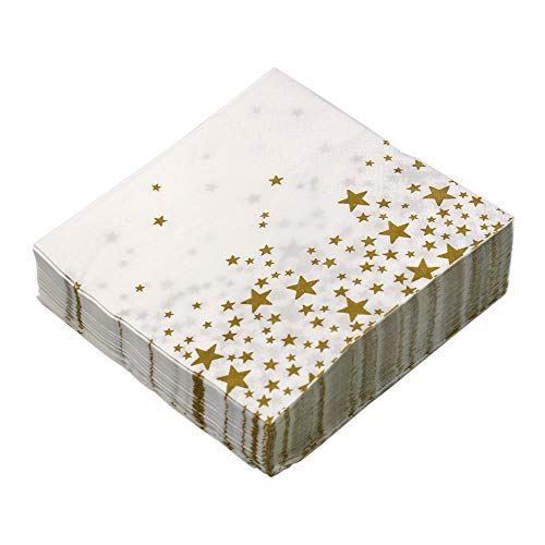 M-Aimee 100 Pack Cocktail Napkins Disposable Paper Party Napkins Gold Stars Designs - Perfect for Birthdays, New Years, Anniversary and Special Occasions,2-Ply, 5 X 5 Inches