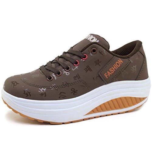 2145448a1aa9 Solshine Damen Fashion Plateau Schnürer Sneakers mit Keilabsatz WALKMAXX  Schuhe Fitnessschuhe Braun