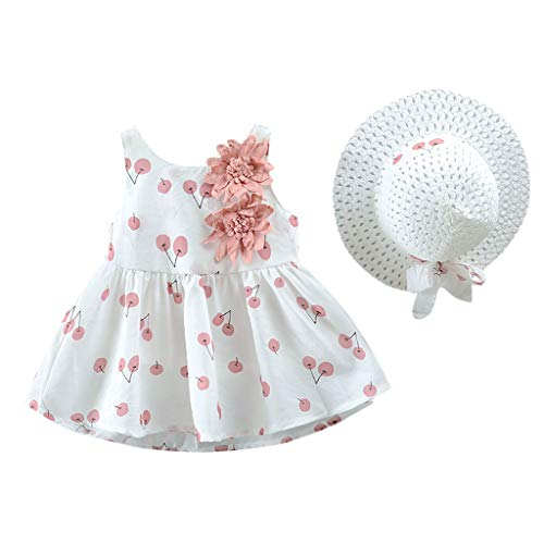 Baby Summer Outfits, Kstare Floral Cherry Printed Sleeveless Casual Beach Princess Dress + Sun Hat Set]()