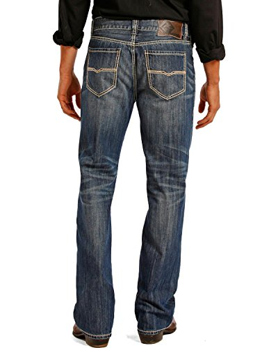 Vintage Dark Denim - Rock & Roll Denim Men's Relaxed Fit Double Barrel Straight Leg Vintage Wash Western Jeans, 29W x 34L