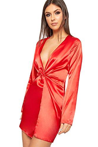 Wearall Femmes Plongeon V-cou Satin Mini Robe Manches Longues Ruché Rouge Partie