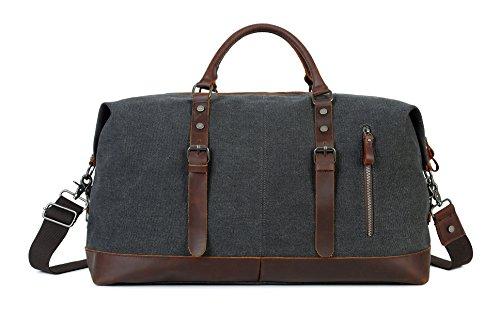Oversized Travel Duffel Overnight Weekender Bag Canvas Leather Tote Weekend bags (Black Weekender)