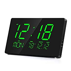 Rcm 14 Oversized LED Digital Wall Clock with Indoor Temperature, Month & Date, Week of Day, Fold-Out Stand can be Place on Any Surface Desk Top (Green)