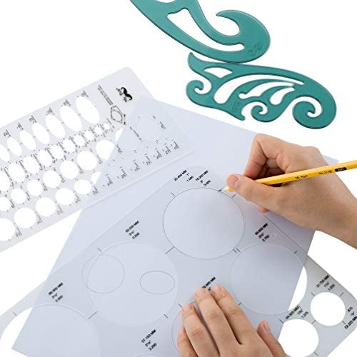 arts, crafts, sewing, painting, drawing, art supplies, drawing,  drawing, lettering aids 12 picture Mr. Pen- French Curve, Large Circle Template and promotion