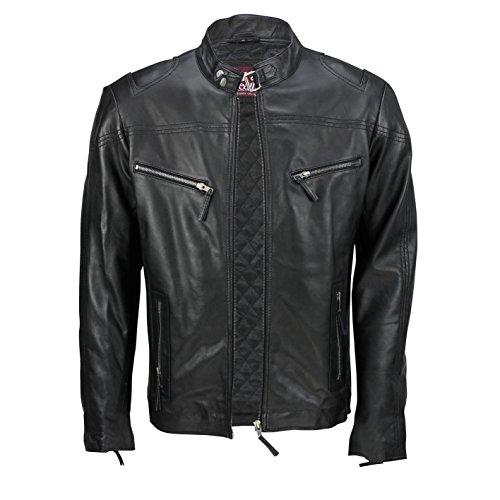 Casual Xposed Elasticizzata Con Stile Chiaro In Vintage Moda Pelle Giacca Vera Motociclista Uomo Alla Black Da Cerniera Morbida Marrone 1HqTr1w