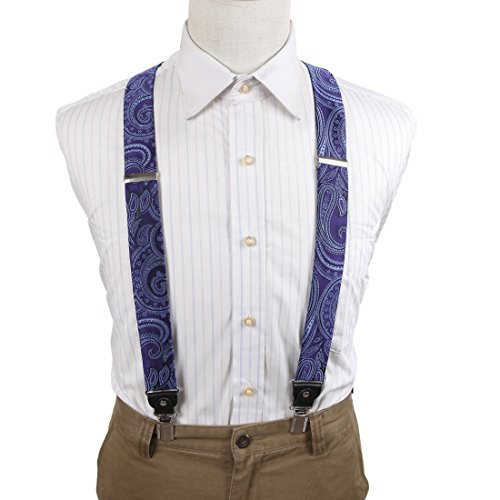 EFBB0002 Blue Paisley Extendable Microfiber Y-Back Suspenders Stainless Steel Clip Best For Lawyers By Epoint