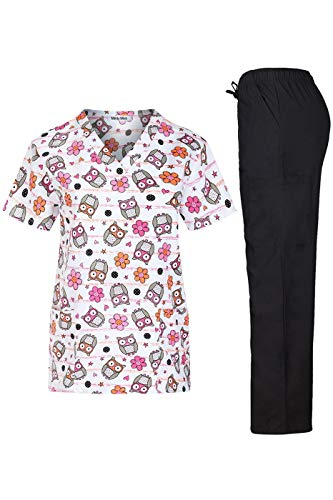 Minty Mint Women's Microfiber Printed Medical Scrub Set V-Neck Top and Pants Pink Orange -