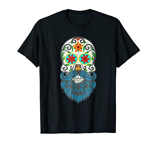 Day Of The Dead Bearded Sugar Skull Halloween Costume Shirt]()