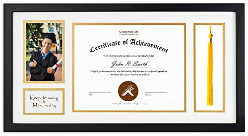 Golden State Art, Diploma Tassel Shadow Box 11x22 Frame for 8.5x11 Document/Certificate & 4x6 Photo, with Double Mat (White Over Gold), Tassel Holder & Real Glass, Black ()