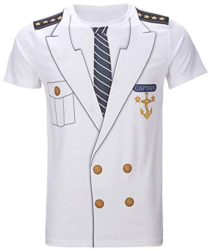 Funny World Men's Captain Costume T-Shirts (M), White -