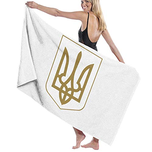 本質的にスキル追記ビーチバスタオル バスタオル ウクライナ国旗の紋章 スポーツ 海水浴 旅行用タオル 多用途 おしゃれ White