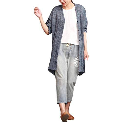 Syban Women Blouse Bohemian Coat Casual Solid Shirt Top Cotton Linen(Small,Z1-Blue) -