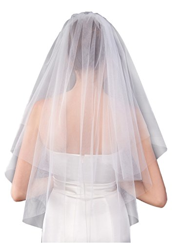 Wishopping Women's Short 2 Tier Simple Ivory Wedding Bridal Veil With Comb L27IV