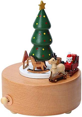 Amor Present Christmas Music Box Wooden Music Box Christmas Tree Girl Musical Box For Birthday Wedding Christmas Home Kitchen