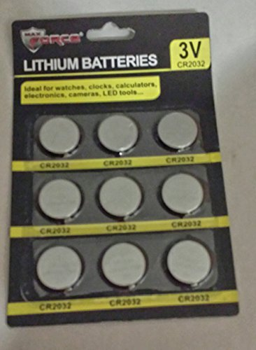 3 Volt Lithium Batteries CR2032 - 9 Pack by Max Force Tools
