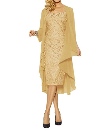 Womens Lace Mother of The Bride Dress Formal Gowns with Jacket Gold US16W
