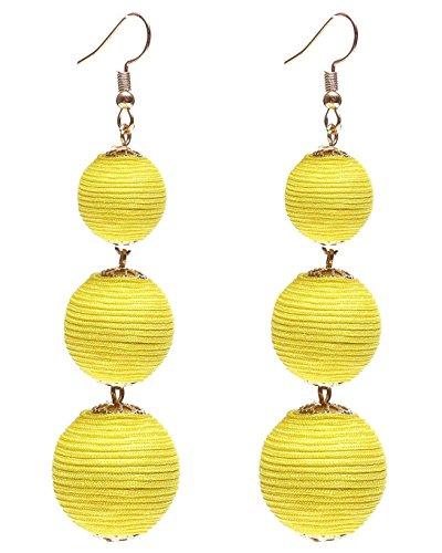 Ghome Thread Ball Dangle Earrings,Drop Earrings Wrapped Triple Balls Beaded Ball Ear Drop Charm Jewelry for Women Girls (05:Yellow - Hoop Earrings Wrapped Rope