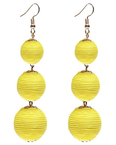 Ghome Thread Ball Dangle Earrings,Drop Earrings Wrapped Triple Balls Beaded Ball Ear Drop Charm Jewelry for Women Girls (05:Yellow ball) -