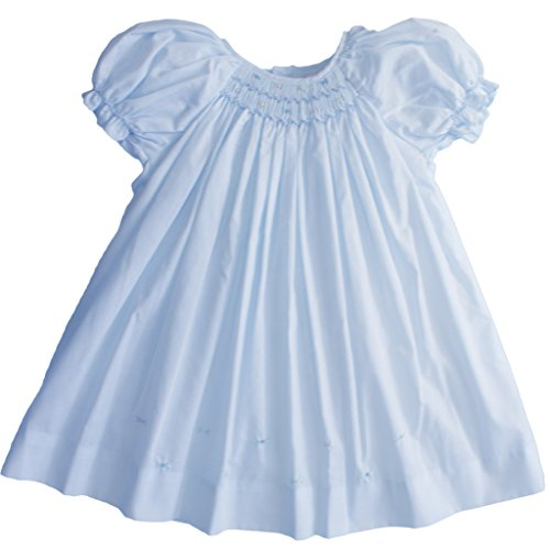 Blue Smocked Dress (Daydress with Raglan Sleeves and Embroidery at Hem in Blue)