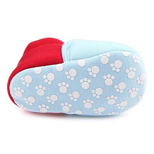HUHU833 Neugeborene Säuglingsbaby Mädchen Soft Crib Schuhe Kleinkind Schuhe, Krippe Schuhe, Runde Zehe weiche alleinige Anti Rutsch Schuhe Blau
