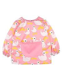 ALEC&YULE Babys Kids Bib Apron Waterproof Long Sleeved Art Craft Smock with Pocket 3-4 Years Pink