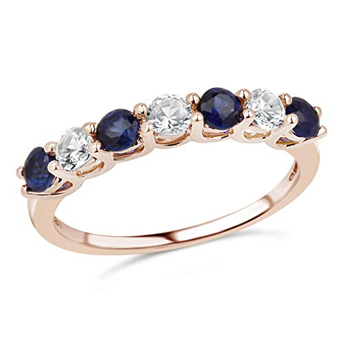 Lab White and Blue Sapphire Ring Band in 10k Rose Gold-Size 8
