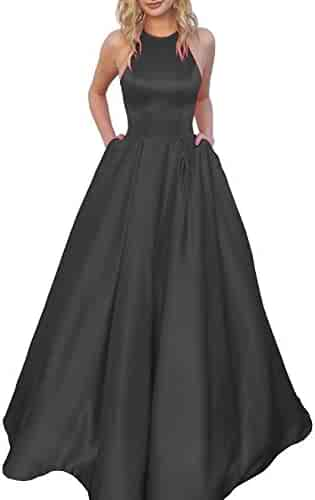 6c20a8033b Women s Halter A-line Beaded Satin Evening Prom Dress Long Formal Gown with  Pockets