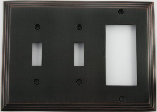 - Deco Step Style Oil Rubbed Bronze 3 Gang Wall Plate - Two Toggle Switches One GFI/Rocker Opening