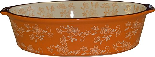 Temp-tations Oval 2.5 Quart Baker Casserole Dish Replacement - Floral Lace Spice