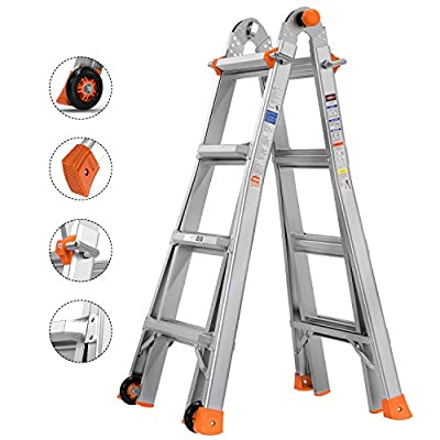 TACKLIFE Ladder, 17-Foot Aluminium Extension Ladder, Multi-Use Telescoping Ladder, 300-Pound Duty Rating, Quick Lock System, Anti-Skid, Two Large Wheels (39.4 Inch), LD01A