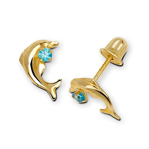 Solid 14k Yellow Blue, Red, Pink or Clear Cubic Zirconia CZ Swimming Dolphin Screw-Back Earrings (6mm x 10mm) - 10k Birthstone Flower Earrings Gold